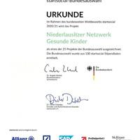 Urkunde startsocial 2020/2021 TOP 25 Bundesauswahl
